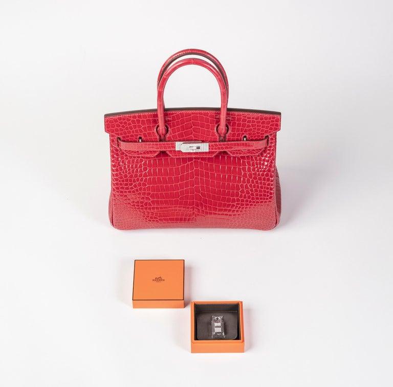 Women's or Men's Hermes Birkin 30cm Braise Porosus with Diamond hardware For Sale
