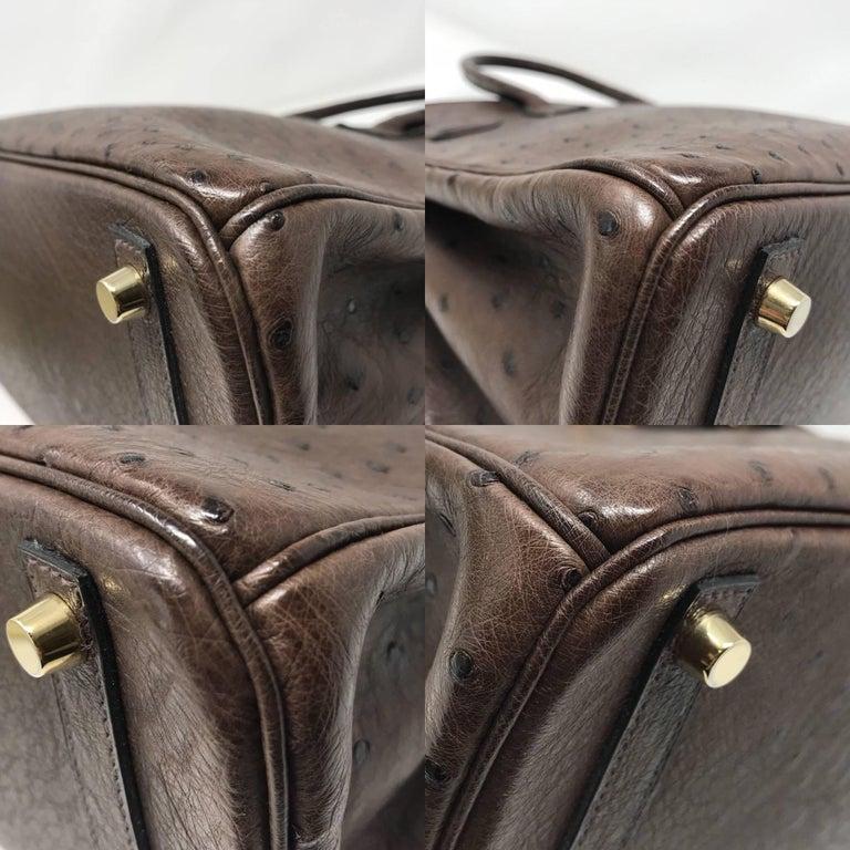 Hermes Birkin 30cm Chocolate Brown Ostrich For Sale 6