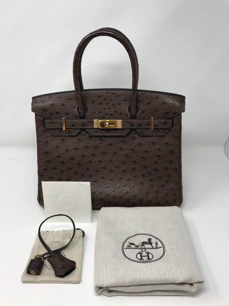 Hermes Birkin 30cm Chocolate Brown Ostrich For Sale 7