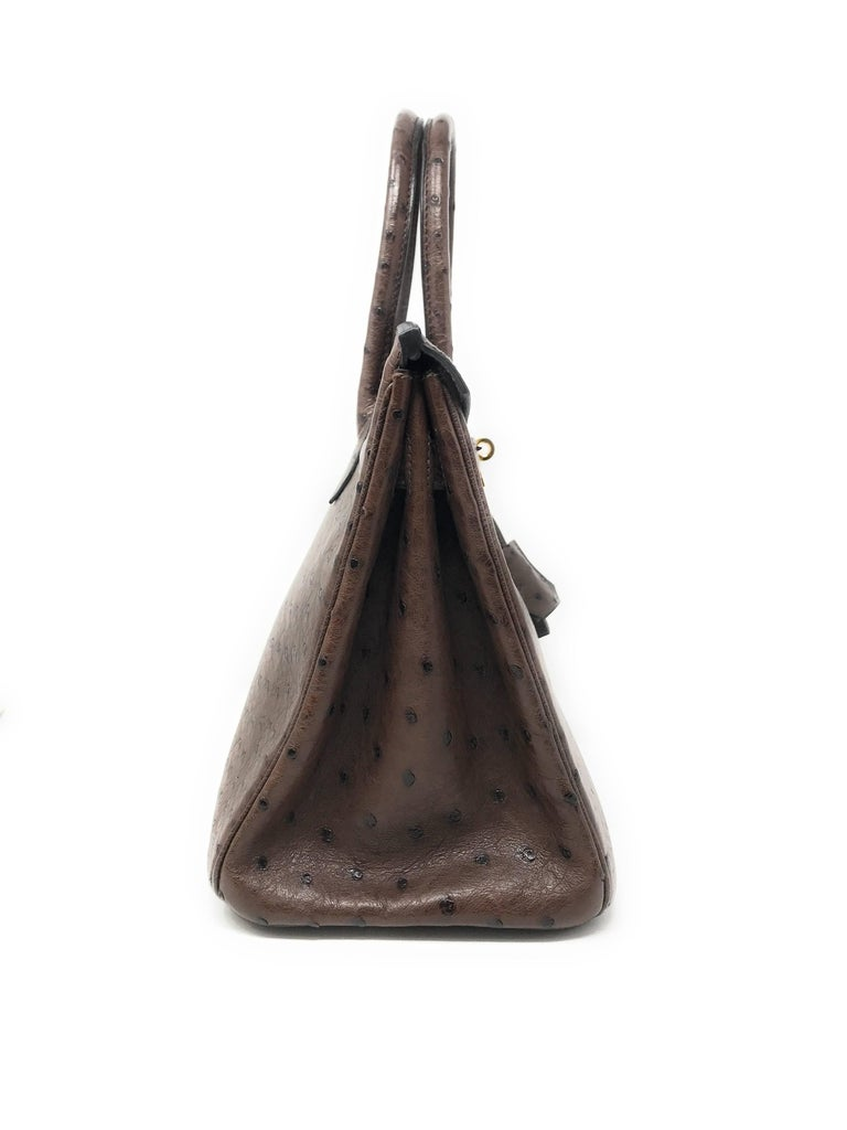 Women's or Men's Hermes Birkin 30cm Chocolate Brown Ostrich For Sale