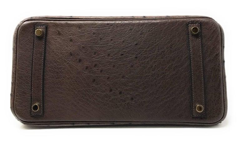 Hermes Birkin 30cm Chocolate Brown Ostrich For Sale 1