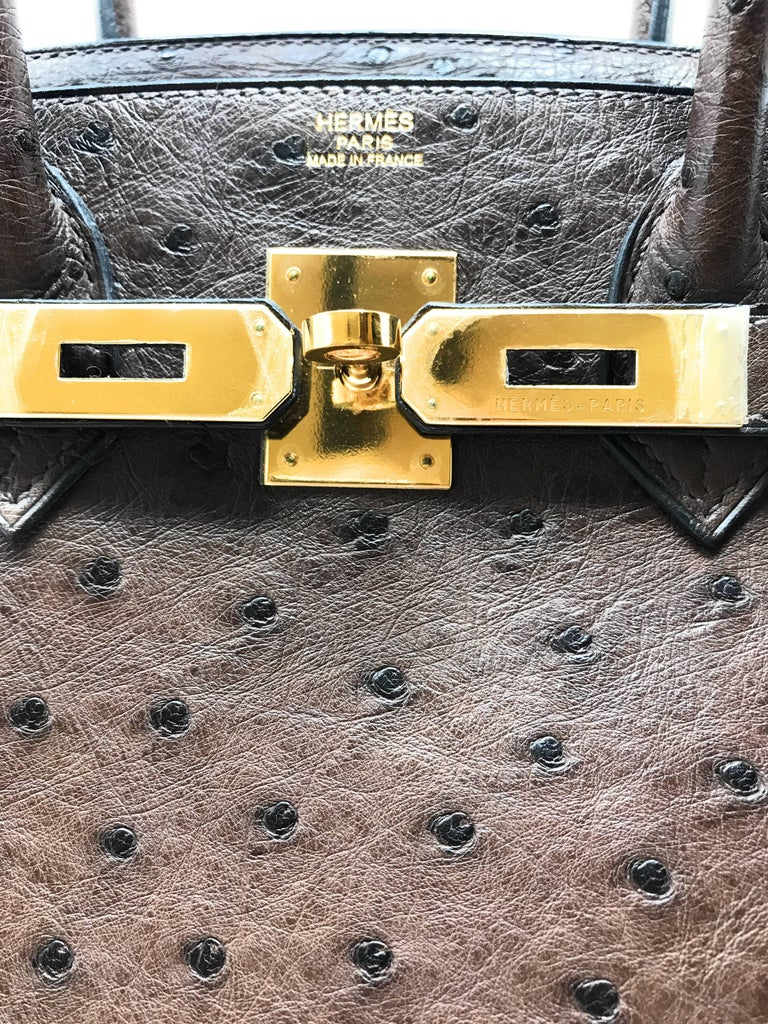 Hermes Birkin 30cm Chocolate Brown Ostrich For Sale 2