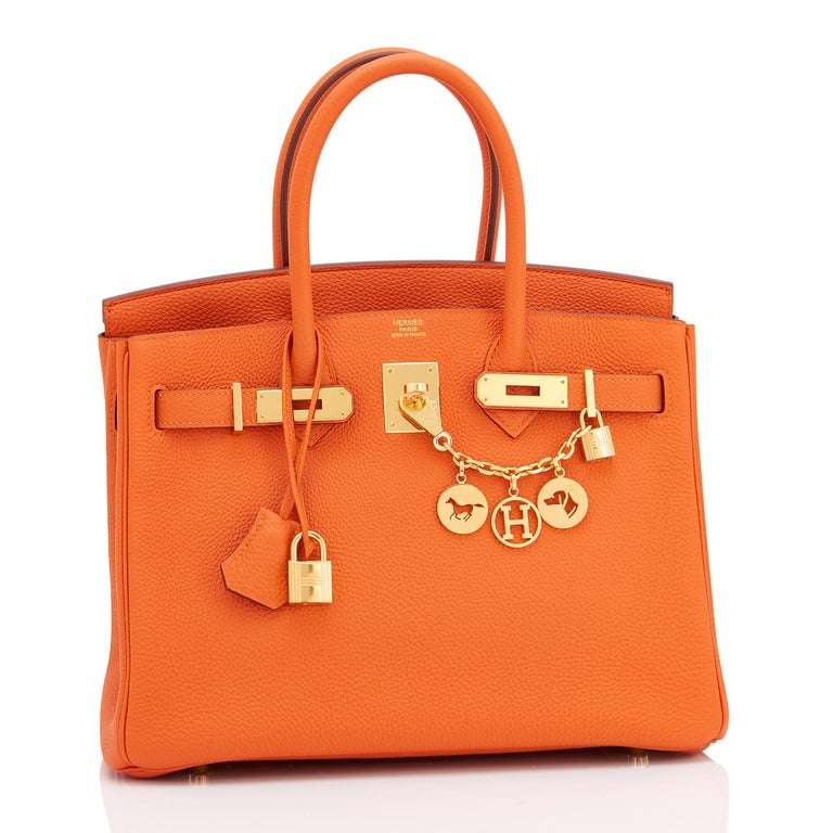 Guaranteed Authentic Hermes Classic Hermes Orange Birkin 30 Togo Gold Hardware Brand New Extremely Rare Pristine Condition classic Hermes orange Birkin (with plastic on hardware) Perfect gift!  New or never used.  Comes with keys, lock, clochette, a