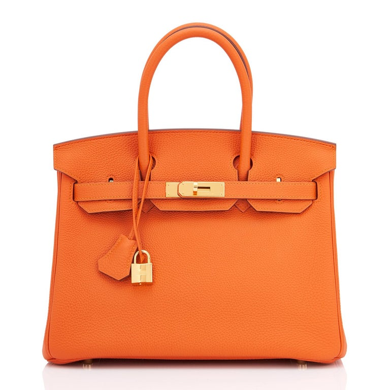 Hermes Birkin 30cm Classic Orange Togo Gold Hardware Bag New In New Condition For Sale In New York, NY