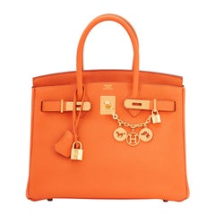 Hermes Birkin 30cm Classic Orange Togo Gold Hardware Bag New