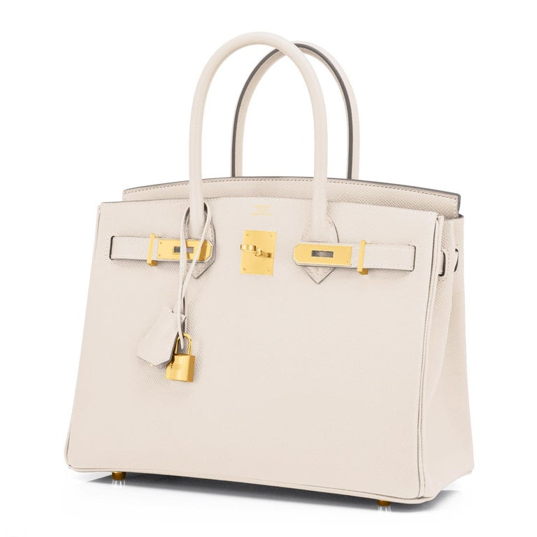 Hermes Birkin 30cm Craie Off White Epsom Gold Hardware Z Stamp, 2021 Brand New in Box. Store Fresh. Pristine Condition (with plastic on hardware) The hottest color of 2021! Perfect gift! Comes in full set with lock, keys, clochette, sleeper,