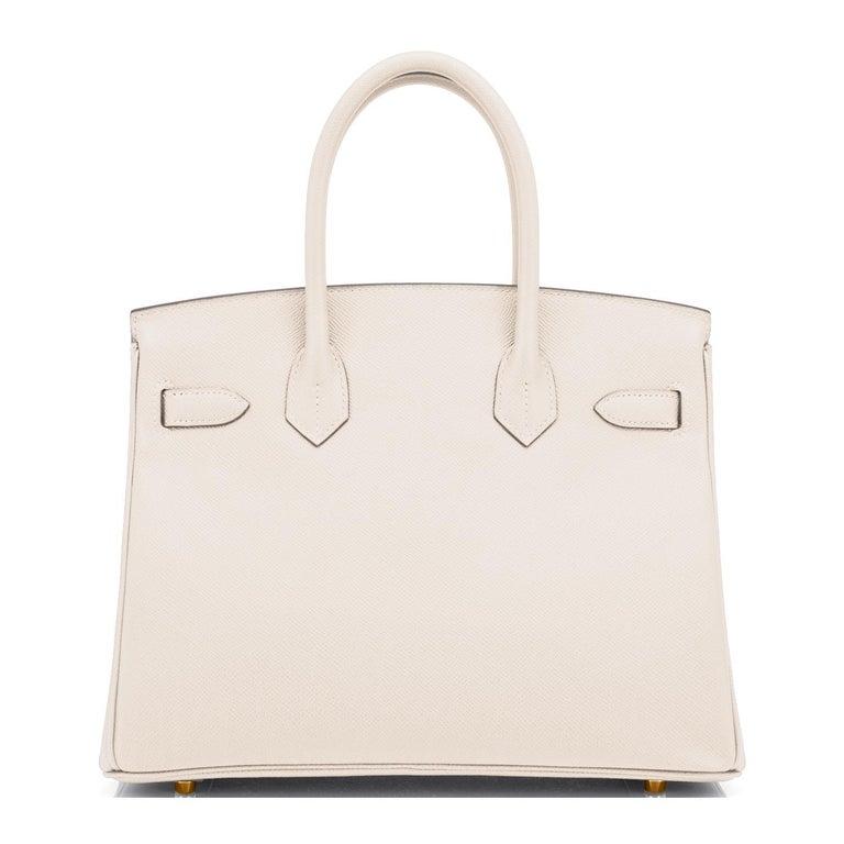 Beige Hermes Birkin 30cm Craie Off White Epsom Gold Hardware Bag Z Stamp, 2021 For Sale