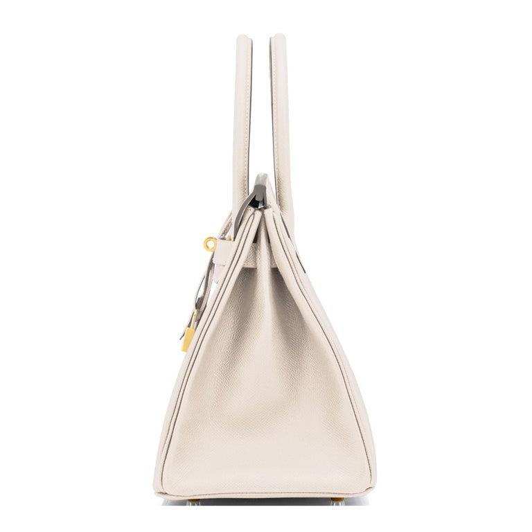 Women's or Men's Hermes Birkin 30cm Craie Off White Epsom Gold Hardware Bag Z Stamp, 2021 For Sale
