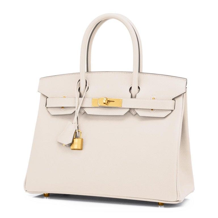 Hermes Birkin 30cm Craie Off White Epsom Gold Hardware Bag Z Stamp, 2021 For Sale 1