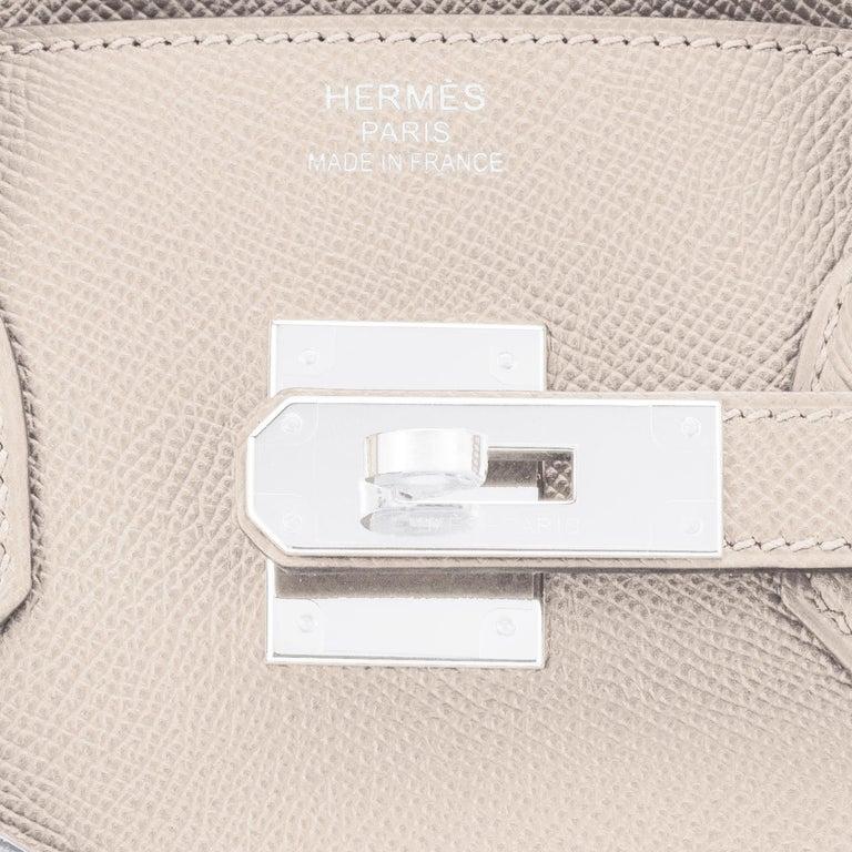 Hermes Birkin 30cm Craie Off White Epsom Palladium Hardware Y Stamp, 2020 For Sale 7
