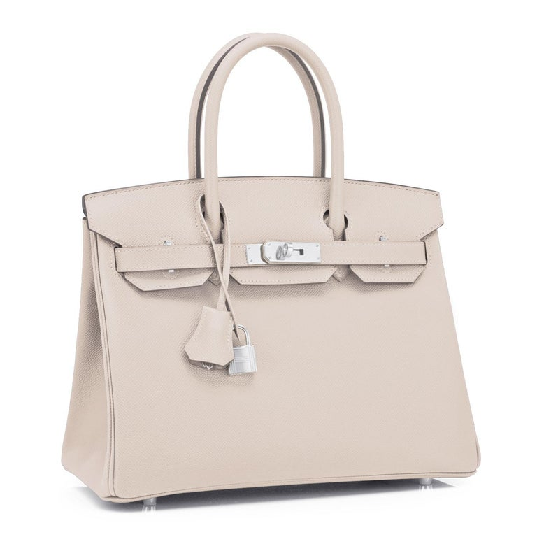 Hermes Birkin 30cm Craie Off White Epsom Palladium Hardware Y Stamp, 2020 Just purchased from Hermes store; bag bears new 2020 interior Y Stamp. Brand New in Box. Store Fresh. Pristine Condition (with plastic on hardware) Perfect gift! Comes in full