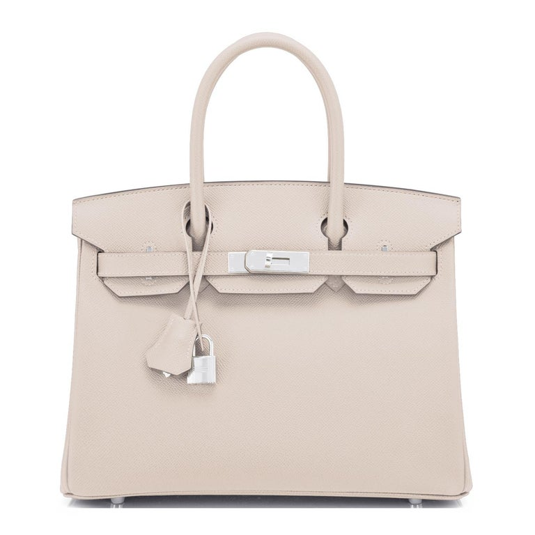 Hermes Birkin 30cm Craie Off White Epsom Palladium Hardware Y Stamp, 2020 In New Condition For Sale In New York, NY