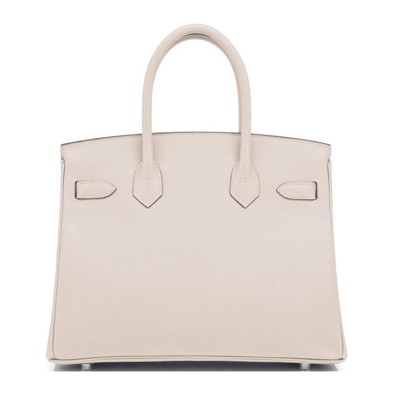 Hermes Birkin 30cm Craie Off White Epsom Palladium Hardware Y Stamp, 2020 For Sale 2