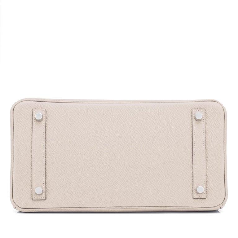 Hermes Birkin 30cm Craie Off White Epsom Palladium Hardware Y Stamp, 2020 For Sale 4