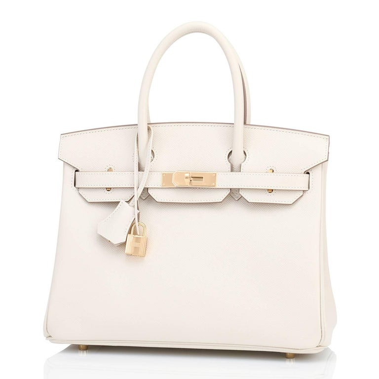 Hermes Birkin 30cm Craie Off White Epsom Gold Hardware NEW In New Condition For Sale In New York, NY