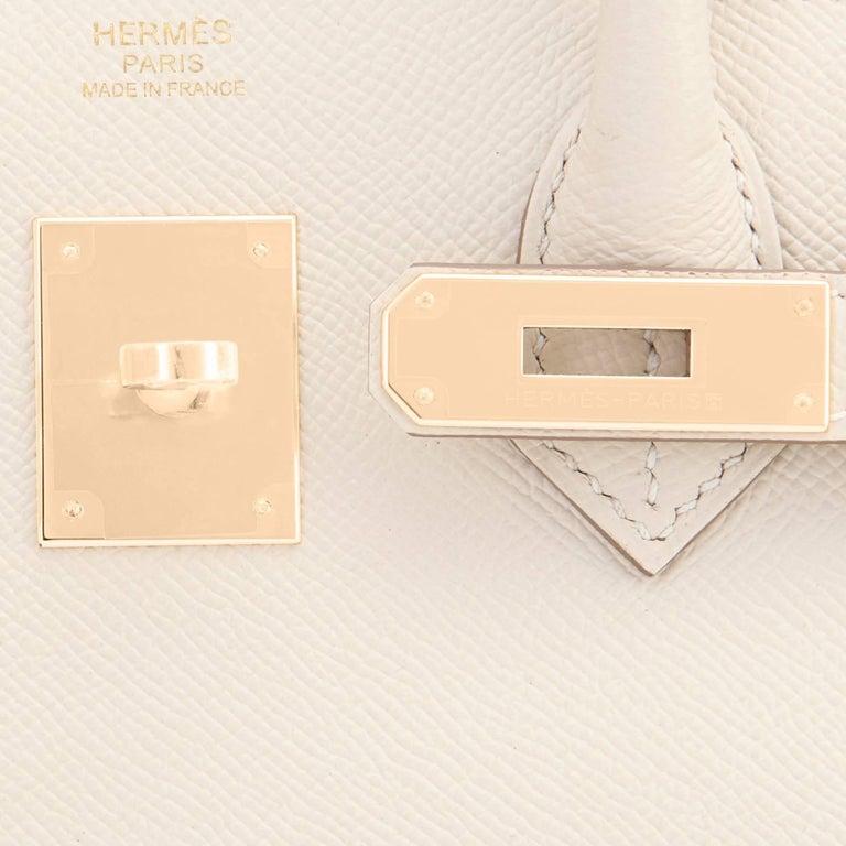 Hermes Birkin 30cm Craie Off White Epsom Gold Hardware NEW For Sale 3