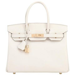 Hermes Birkin 30cm Craie Off White Epsom Gold Hardware NEW