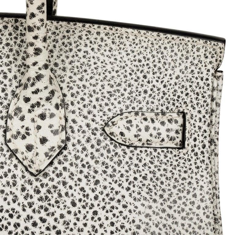 Hermès Birkin 30cm Dalmatian Buffalo Leather Palladium Hardware For Sale 6