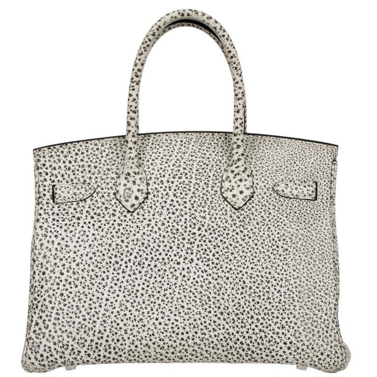 Hermès Birkin 30cm Dalmatian Buffalo Leather Palladium Hardware For Sale 7