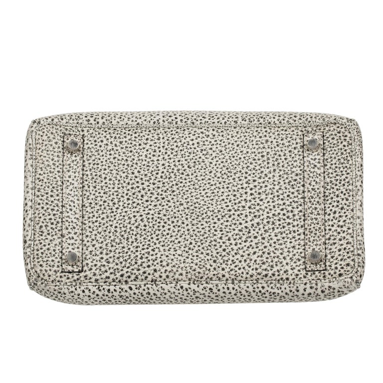 Hermès Birkin 30cm Dalmatian Buffalo Leather Palladium Hardware For Sale 8