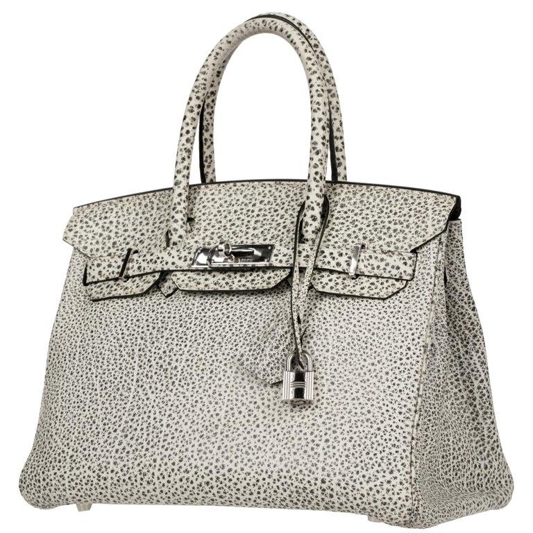 Women's or Men's Hermès Birkin 30cm Dalmatian Buffalo Leather Palladium Hardware For Sale