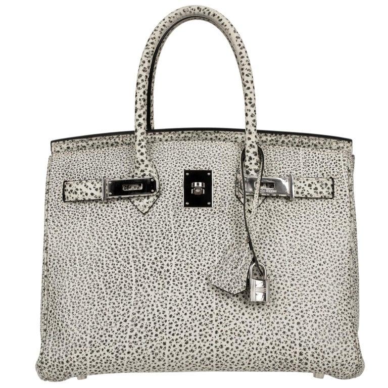 Hermès Birkin 30cm Dalmatian Buffalo Leather Palladium Hardware For Sale 1