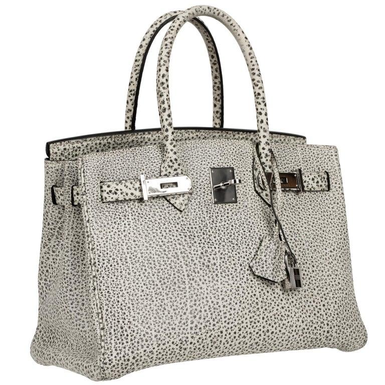 Hermès Birkin 30cm Dalmatian Buffalo Leather Palladium Hardware For Sale 2