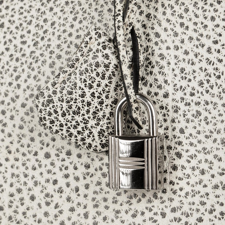 Hermès Birkin 30cm Dalmatian Buffalo Leather Palladium Hardware For Sale 3