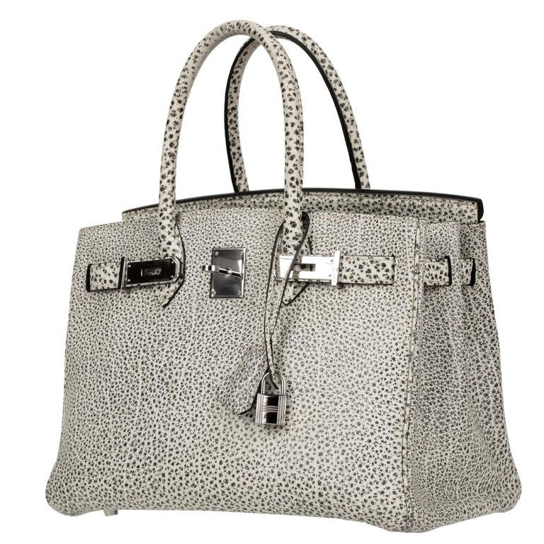 Hermès Birkin 30cm Dalmatian Buffalo Leather Palladium Hardware For Sale 4