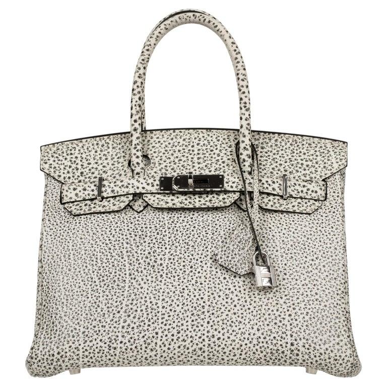 Hermès Birkin 30cm Dalmatian Buffalo Leather Palladium Hardware For Sale