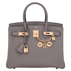 Hermes Birkin 30cm Etain Rose Gold Tin Grey Togo Bag Z Stamp, 2021