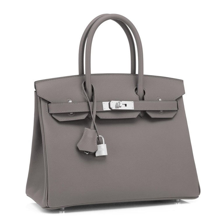 Hermes Birkin 30cm Etain Tin Grey Epsom Palladium Hardware Y Stamp, 2020 Just purchased from Hermes store; bag bears new interior 2020 Y Stamp Brand New in Box. Store Fresh. Pristine Condition (with plastic on hardware) Perfect gift! Comes full set