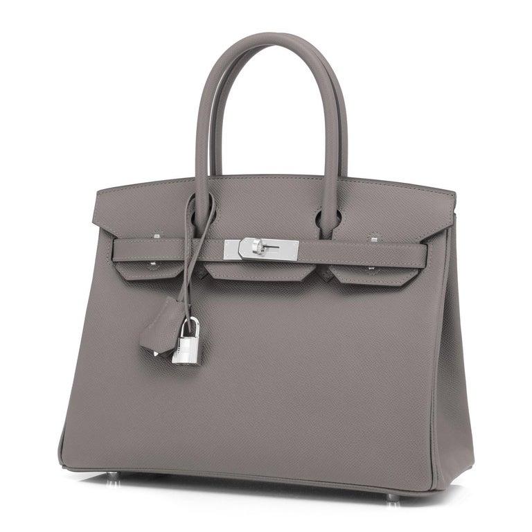 Hermes Birkin 30cm Etain Tin Grey Epsom Palladium Hardware Y Stamp, 2020 In New Condition For Sale In New York, NY