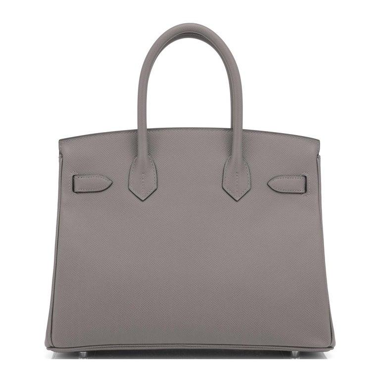 Women's or Men's Hermes Birkin 30cm Etain Tin Grey Epsom Palladium Hardware Y Stamp, 2020 For Sale