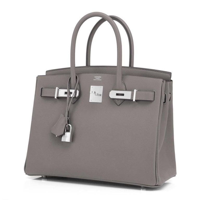 Hermes Birkin 30cm Etain Tin Grey Epsom Palladium Hardware Y Stamp, 2020 For Sale 3