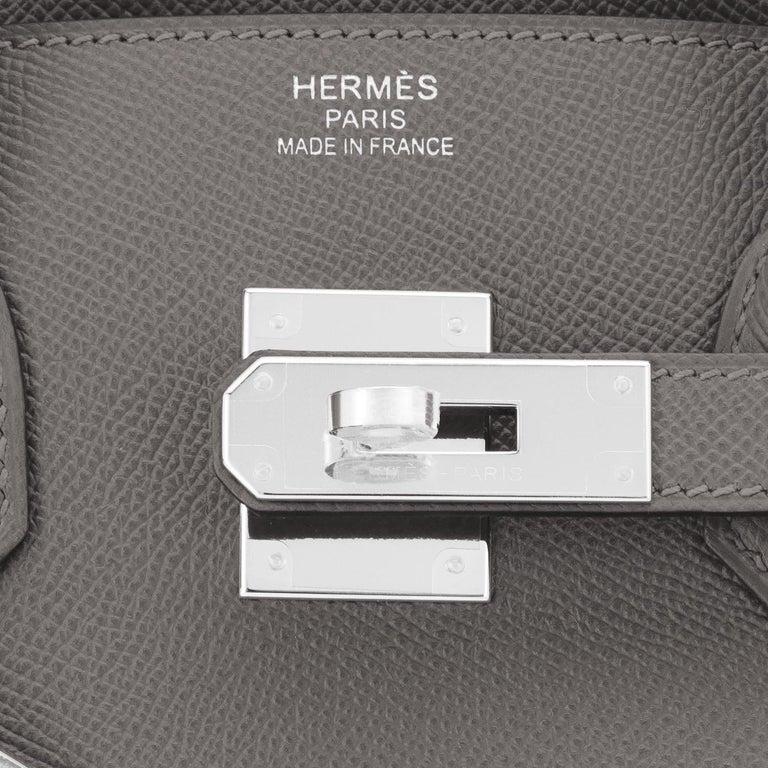 Hermes Birkin 30cm Etain Tin Grey Epsom Palladium Hardware Y Stamp, 2020 For Sale 4