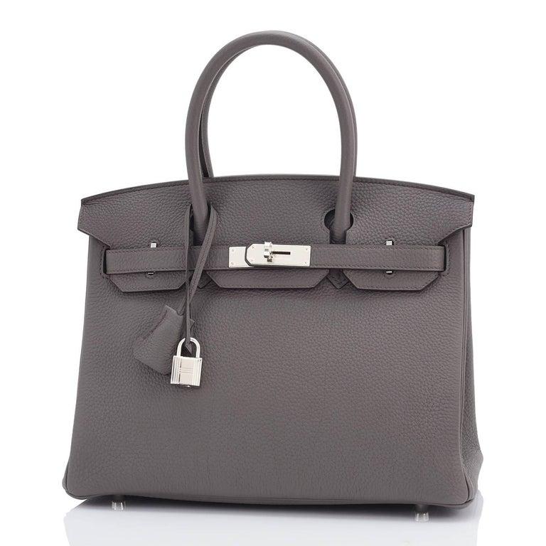 Gray Hermes Birkin 30cm Etain Tin Grey Togo Palladium Hardware NEW For Sale