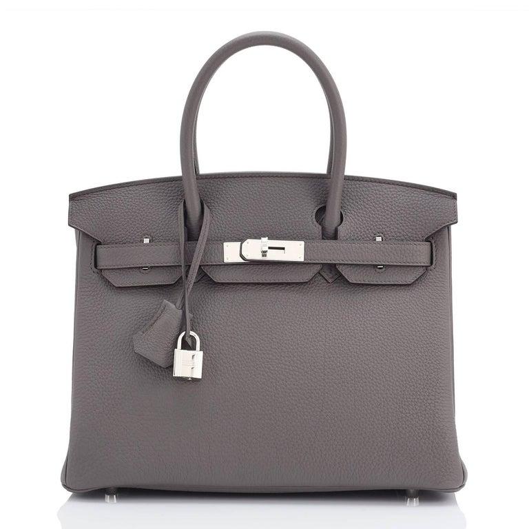 Hermes Birkin 30cm Etain Tin Grey Togo Palladium Hardware NEW In New Condition For Sale In New York, NY