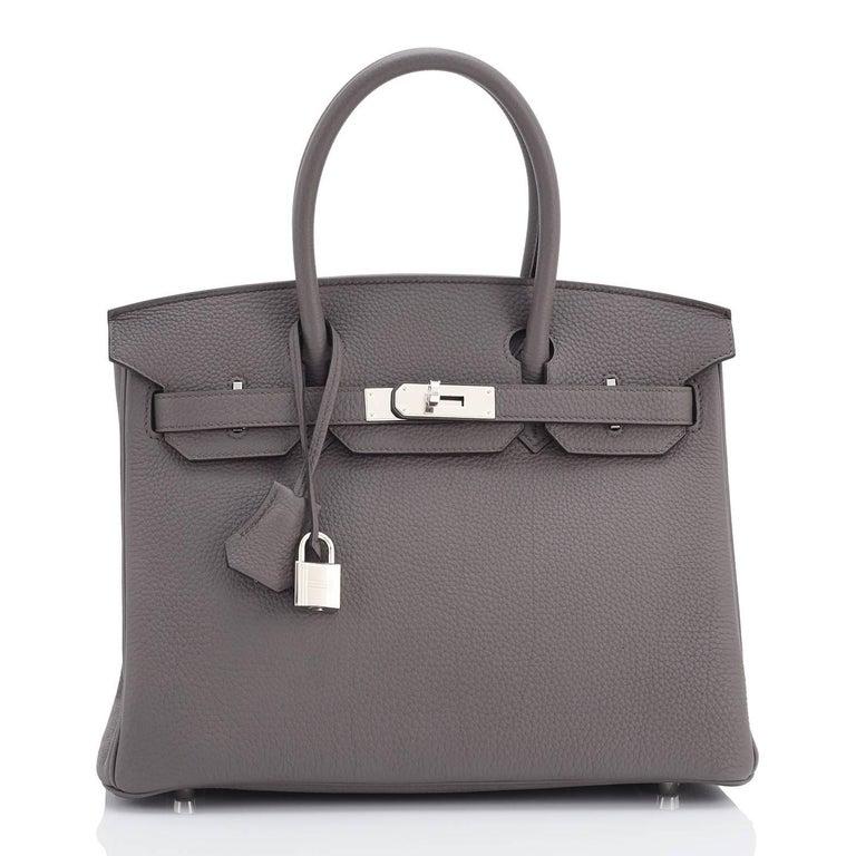 Women's or Men's Hermes Birkin 30cm Etain Tin Grey Togo Palladium Hardware NEW For Sale
