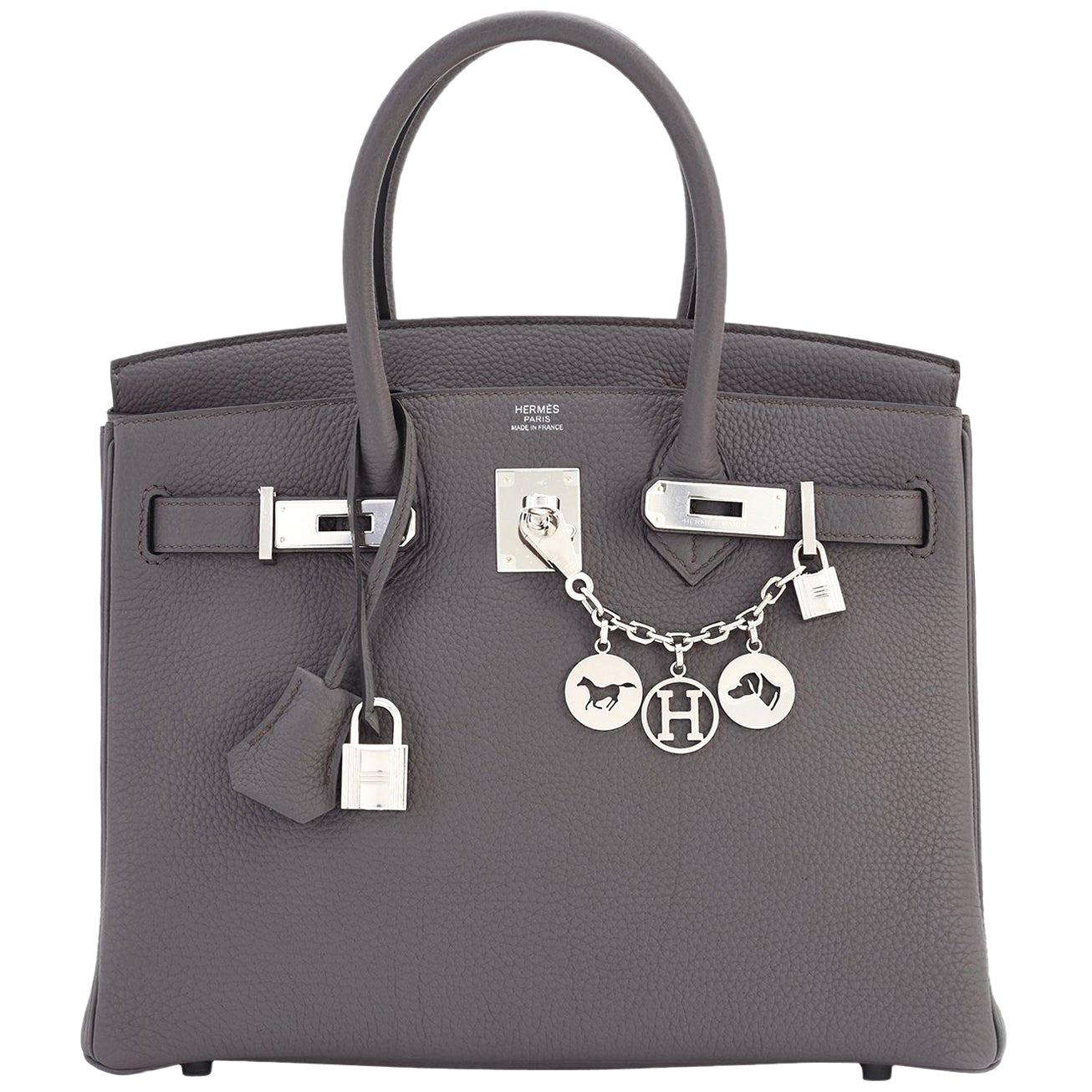 Hermes Birkin 30cm Etain Tin Grey Togo Palladium Hardware NEW