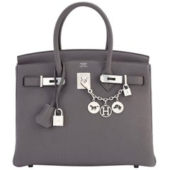 Hermes Birkin 30cm Etain Tin Grey Togo Palladium Hardware NEW