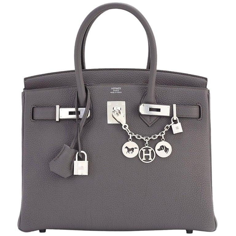 Hermes Birkin 30cm Etain Tin Grey Togo Palladium Hardware NEW For Sale
