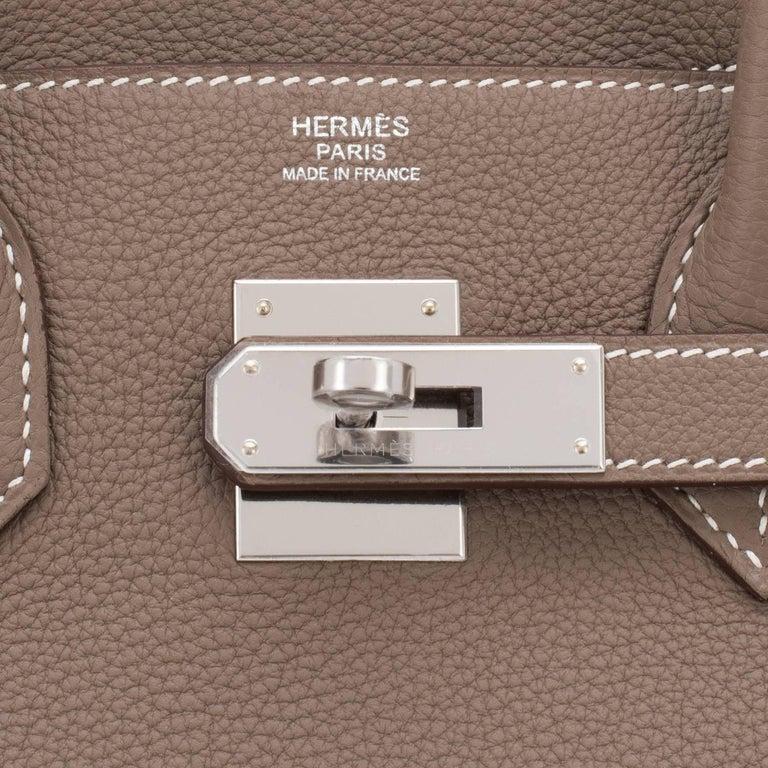 Hermes Birkin 30cm Etoupe Togo Birkin Taupe Bag Palladium NEW For Sale 5