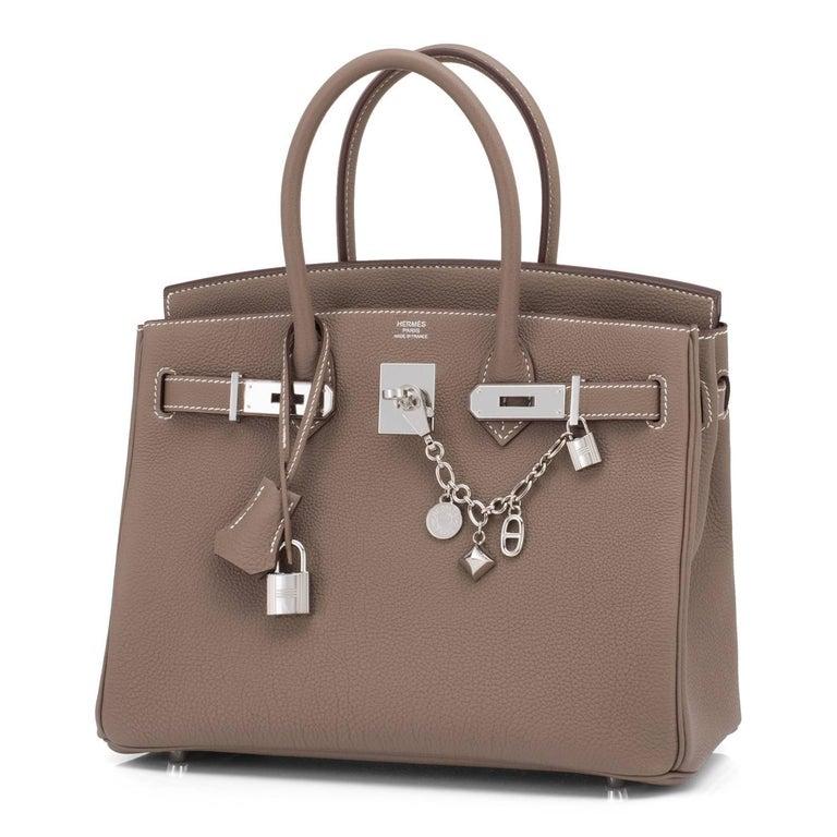 Brown Hermes Birkin 30cm Etoupe Togo Birkin Taupe Bag Palladium NEW For Sale