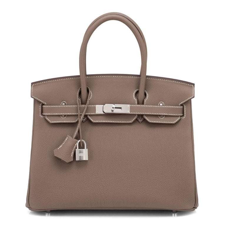 Hermes Birkin 30cm Etoupe Togo Birkin Taupe Bag Palladium NEW In New Condition For Sale In New York, NY