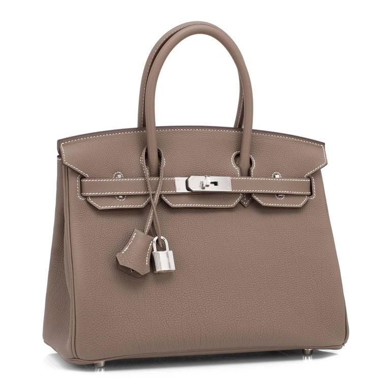 Women's Hermes Birkin 30cm Etoupe Togo Birkin Taupe Bag Palladium NEW For Sale
