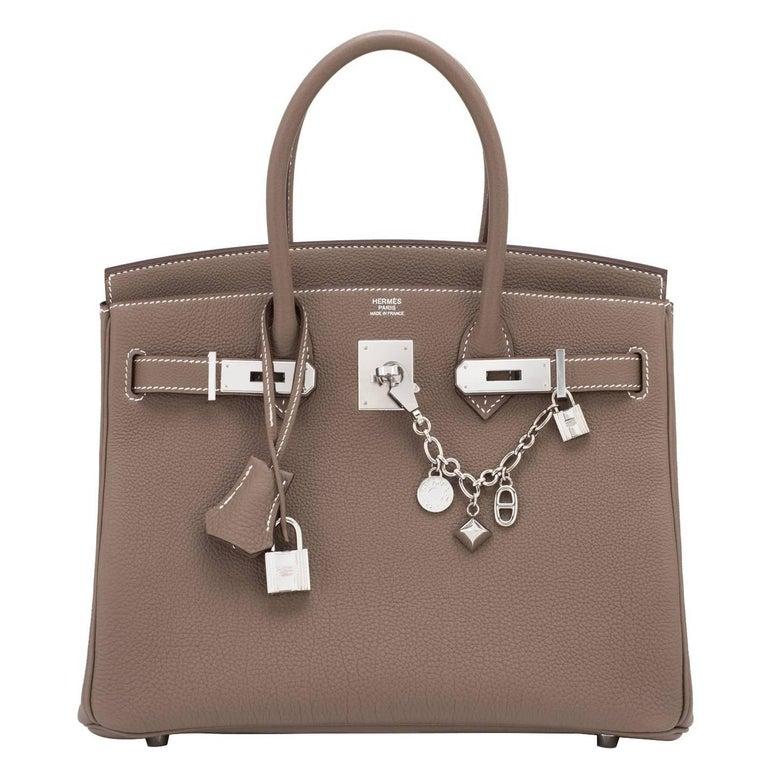 Hermes Birkin 30cm Etoupe Togo Birkin Taupe Bag Palladium NEW For Sale