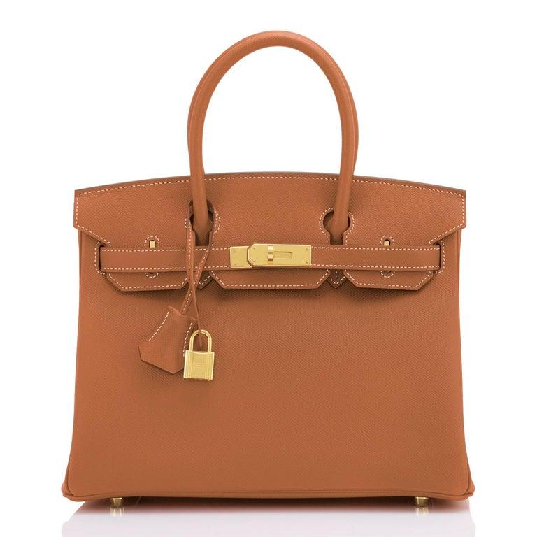 Brown Hermes Birkin 30cm Gold Camel Tan Gold Hardware Bag NEW For Sale
