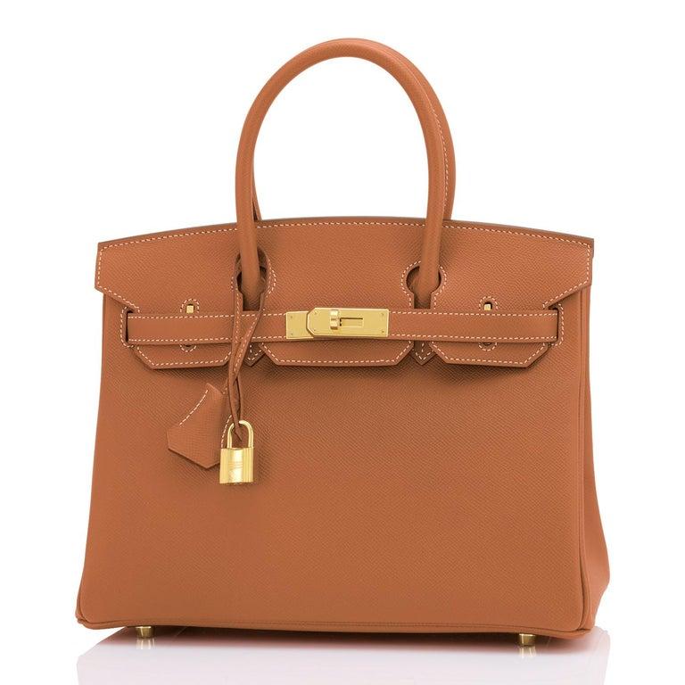 Hermes Birkin 30cm Gold Camel Tan Gold Hardware Bag NEW For Sale 3