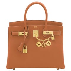 Hermes Birkin 30cm Gold Camel Tan Gold Hardware Bag NEW